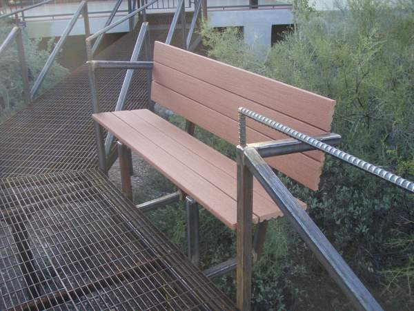 Builtin bench of Low Ecological Impact Outdoor Catwalk Walkway by Desert Rat Forge
